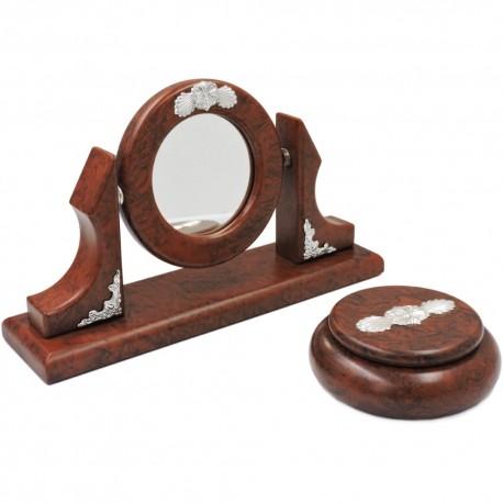Set Specchio e Scatola in Radica di Noce e Argento 925
