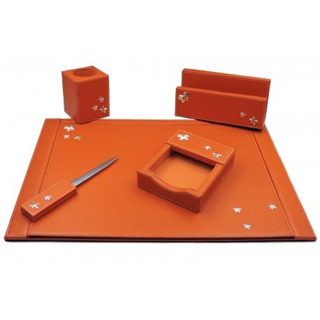Set da Scrivania in Ecopelle Arancione con Inserti in Argento