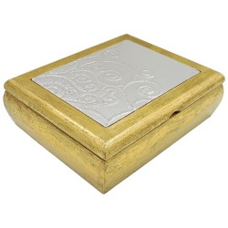 Desiree Gold Wooden Jewelry Box with 925 Sterling Silver Cover