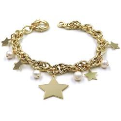 Bracciale in Argento Placcato Oro con Perle e Stelle Pendenti