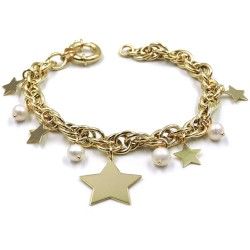 Gold Plated Sterling Silver Bracelet with Pearls and Hanging Stars
