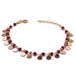 Bracciale con Medagliette in Argento Placcato Oro Rosa e Pietre Rosse