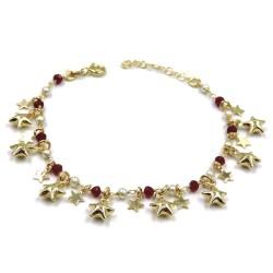 Bracciale Stelle in Argento Placcato Oro Pietre Rosse e Perle
