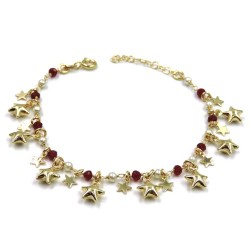 Stars Bracelet in Gold Plated Sterling Silver with Red Stones and Pearls