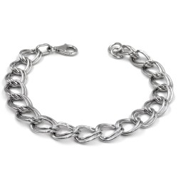 Sterling Silver Two Rings Gourmette Bracelet