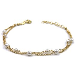 Gold Plated Sterling Silver Two Chains Bracelet with Pearls