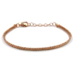 Bracciale in Argento 925 Placcato Oro Rosa Effetto Diamantato