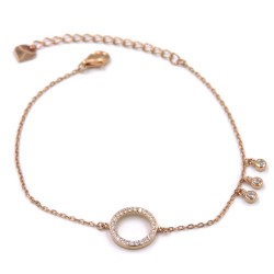 Circle Bracelet, Pink Gold Plated 925 Sterling Silver