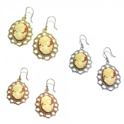 925 Sterling Silver Pendant Earrings With Cameo by I Gemelli Argenti