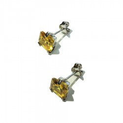 925 Sterling Silver Earrings With Yellow Zircon by Taitù
