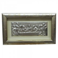 Framework Sacred Headboard Last Supper By Leonardo Da Vinci Embossed Silver