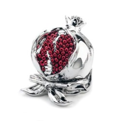 Silver Coated Resin Pomegranate Sculpture