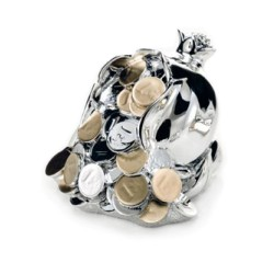 Pomegranate with Coins Silver Coated Resin Sculpture