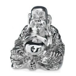 Old Buddha Silver Coated Resin Sculpture