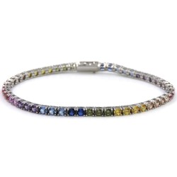 Sterling Silver Shades of Color Tennis Bracelet