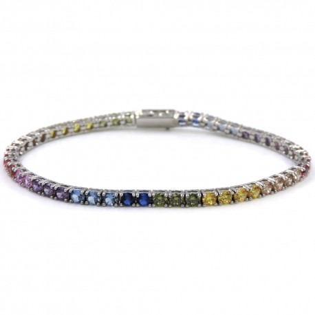 Sterling Silver Shades of Color Tennis Bracelet