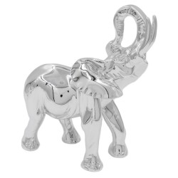 Scultura Elefante Indiano in Resina Argentata