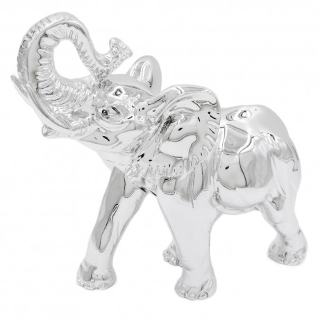 Silver Coated Resin Elephant Sculpture