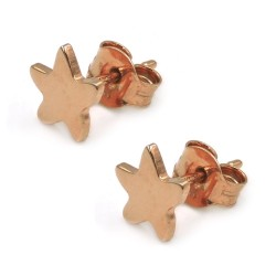 Pink Gold Plated 925 Sterling Silver Star Stud Earrings
