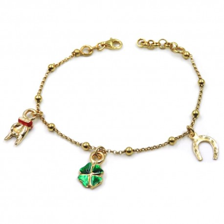 Gold Plated Sterling Silver Bracelet with Lucky Charms