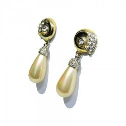 925 Sterling Silver Pendant Earrings with white zircons and drop pearl by Kalò