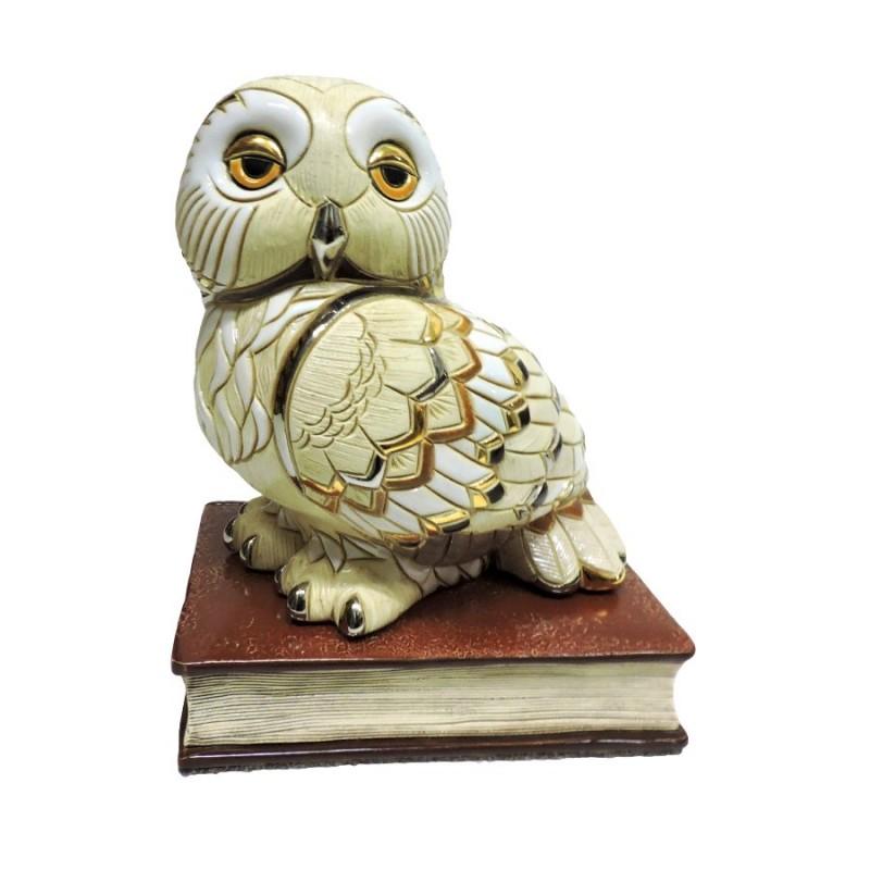Scultura in ceramica gufo su libro by de rosa rinconada for Libro in ceramica