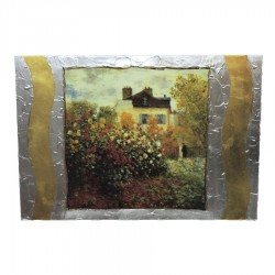 Framework on Wood The Claude Monet Garden in Argenteuil by Re Argento