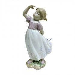 Scultura Bambina con Farfalla sul Vestito in Finissima Porcellana Spagnola by Morena