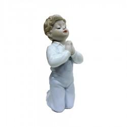 Scultura Bambino che Prega in Fine Porcellana Lucida e Biscuit by Siro Time