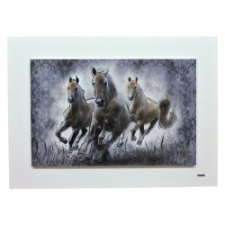 Running Horses Modern Painting Mixed Technique on Wood cm 72x52