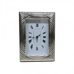 Orologio da Tavolo con Funzione Sveglia Cerchi Concentrici in Argento Lucido