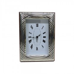 Silver Alarm Clock Glossy Concentric Circles