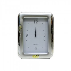 Alarm Clock Satin Fiftieth Anniversary in Silver