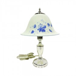 800 Sterling Silver Abat Jour Table Lamp with Glass Lampshade by Donatello Argenti