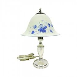 Lampada da Tavolo Abat Jour in Argento 800 con Paralume in Vetro Decorato  by Donatello Argenti