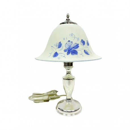 Lampada Abat Jour in Argento 800 con Paralume in Vetro Decorato