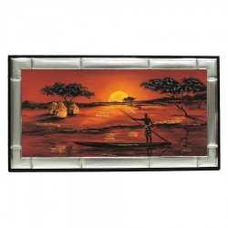 Framework on Wood African Sunset On The River with Silver Laminate Frame by Re Argento