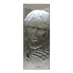 Framework Sacred Rectangular Headboard Face of Jesus Embossed Silver
