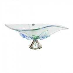 Centrotavola in Cristallo Inciso Con Fiori Colorati e Base in Argento 925