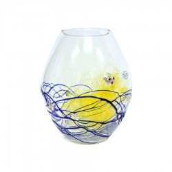 Oval Blown Glass Jar with Blue Decoration and 925 Sterling Silver Application by Re Argento