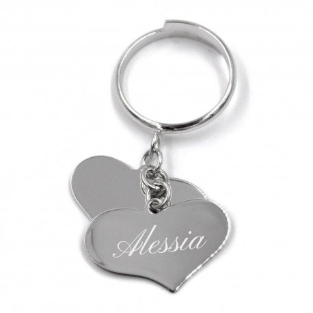 Customizable Sterling Silver Ring with Two Heart Shaped Pendants