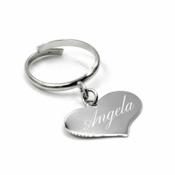 925 Sterling Silver Ring with Customizable Heart Pendant