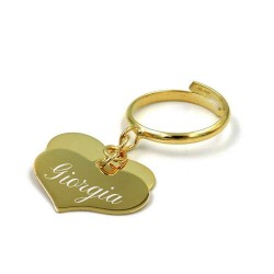 Gold Plated 925 Sterling Silver Ring with 2 Customizable Heart Pendants
