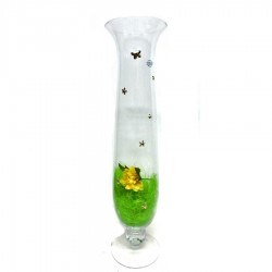 Blown Glass Vase with 925 Sterling Silver Applications