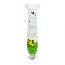 Vaso in Vetro Soffiato h 70 cm Con Applicazioni in Argento 925