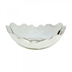800 Sterling Siver glossy bon bon bowl with scalloped edge