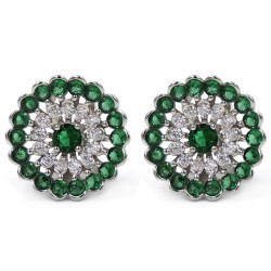 Sterling Silver Round Earrings White and Green Zircons