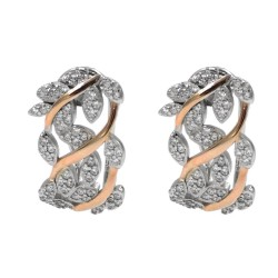 Sterling Silver Leaves Earrings White Zircons