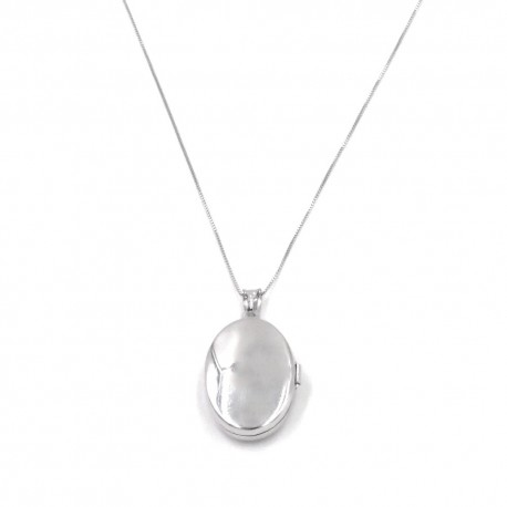 925 Sterling Silver Necklace with Oval Picture Frame Pendant