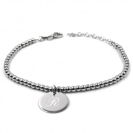 Sterling Silver Nuggets Bracelet with Customizable Medal